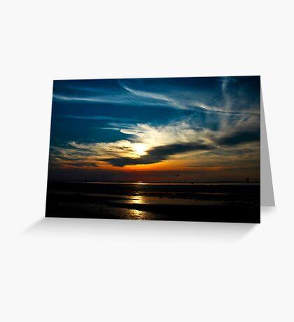 Sunset at the seaside, Hunstanton, Norfolk, United Kingdom Greeting Card