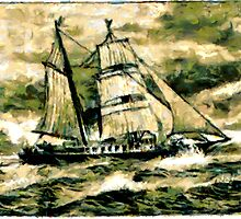 Old Time Sailing Ship in Heavy Weather by Dennis Melling