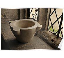 Lacock Abbey, Stoneware bowl at Lattice window Poster