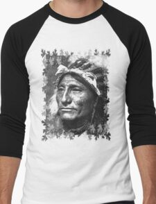 Vintage Native American Portrait In Black and White Men's Baseball ¾ T-Shirt
