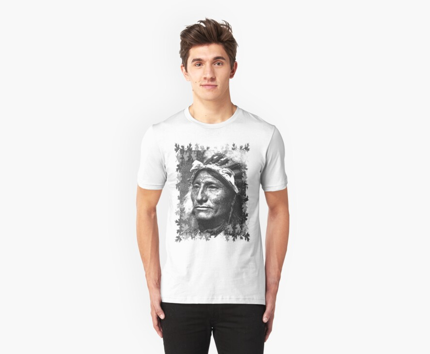 Vintage Native American Portrait In Black and White by taiche