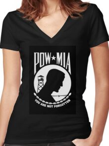 POW MIA Women's Fitted V-Neck T-Shirt