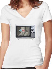 Shakespeare 3D T.V. Women's Fitted V-Neck T-Shirt