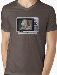 Shakespeare 3D T.V. Mens V-Neck T-Shirt