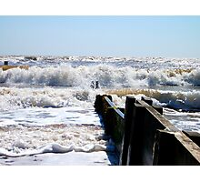 Waves Off The Groyne's Edge! Photographic Print