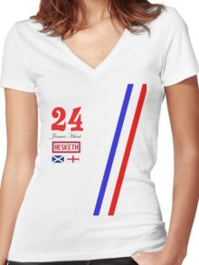 Hesketh Racing James Hunt 24 formula 1 Women's Fitted V-Neck T-Shirt