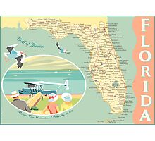 Florida Map with Dinner Key Photographic Print