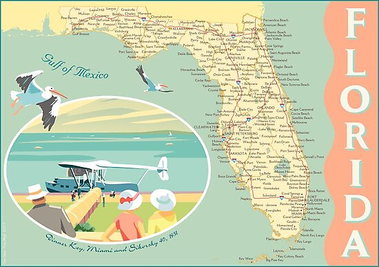 Florida Map with Dinner Key by contourcreative