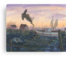 Diving Pelican Canvas Print
