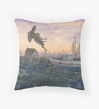 Diving Pelican Throw Pillow