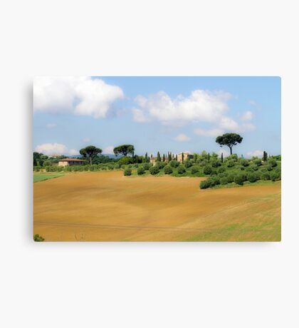 Rolling green hills with trees Photographed in Tuscany, Italy Canvas Print