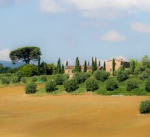 Rolling green hills with trees Photographed in Tuscany, Italy Sticker