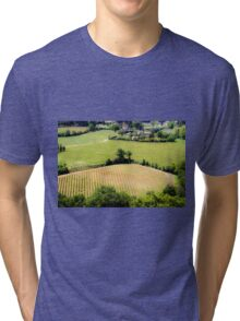 Rolling green hills with trees Photographed in Tuscany, Italy Tri-blend T-Shirt