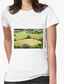 Rolling green hills with trees Photographed in Tuscany, Italy Womens Fitted T-Shirt