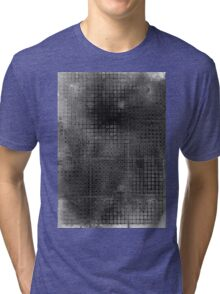 Watercolor Abstraction: Black and White Grid Texture Tri-blend T-Shirt