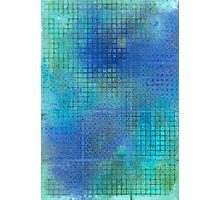 Watercolor Abstraction: Blue Grid Texture Photographic Print