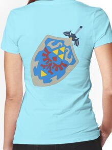 Hylian Shield and Master sword Women's Fitted V-Neck T-Shirt
