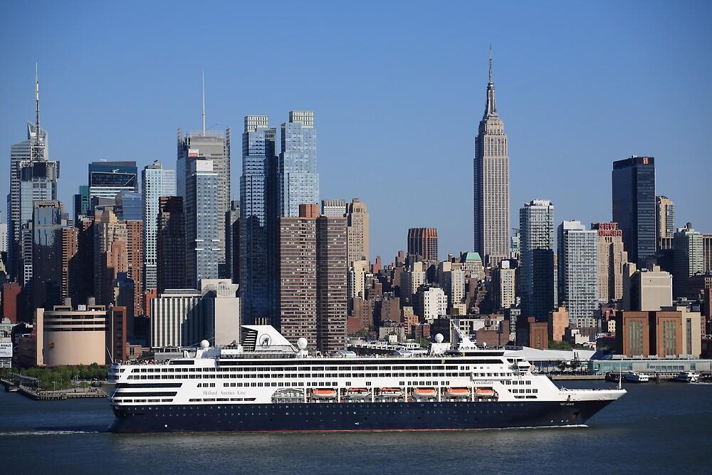 New York City Skyline and Cruise Ship by Frank Romeo