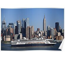 New York City Skyline and Cruise Ship Poster