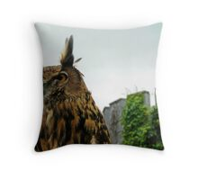 The Owl and the Castle Throw Pillow
