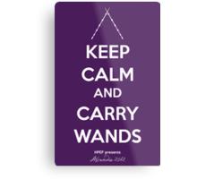 Keep Calm and Carry Wands Metal Print