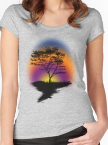 Sunset Trees Women's Fitted Scoop T-Shirt