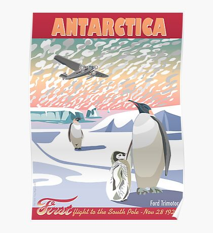 Antarctica - Ford Trimotor and Penguins Poster