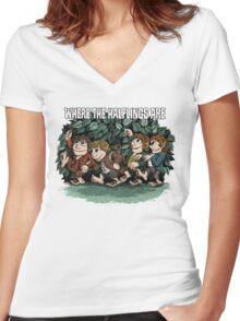 Where the Halflings Are Women's Fitted V-Neck T-Shirt