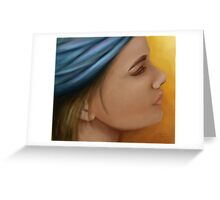 Woman with blue bandana Greeting Card