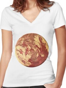 Metallic abstract swirl Women's Fitted V-Neck T-Shirt