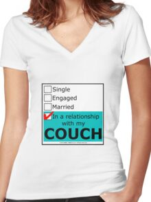In A Relationship With My Couch Women's Fitted V-Neck T-Shirt