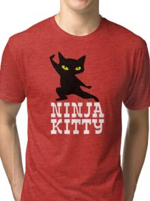 Ninja Kitty Retro Poster Tri-blend T-Shirt