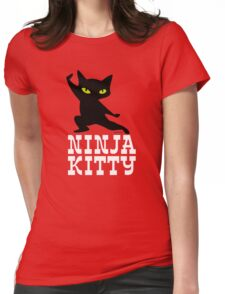 Ninja Kitty Retro Poster Womens Fitted T-Shirt