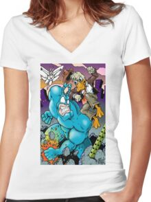 The Tick and Howard Duck Women's Fitted V-Neck T-Shirt