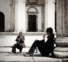 Violinista by the Columns of San Lorenzo by Gillian Cross