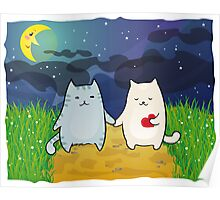 Cats under the moon Poster