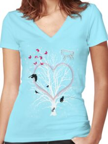 DreamCatcher Tree Women's Fitted V-Neck T-Shirt