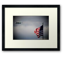 Shuttle Flying Over NYC Framed Print