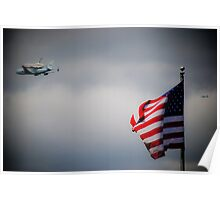Shuttle Flying Over NYC Poster