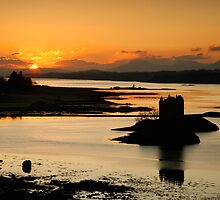 Sunset over Castle Stalker, Loch Linnhe, Scotland by Martin Lawrence