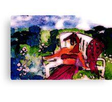Fell asleep while sunning in garden, watercolor Canvas Print