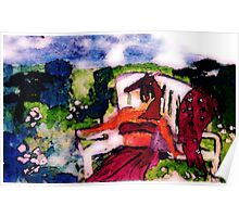 Fell asleep while sunning in garden, watercolor Poster