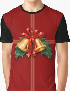 Christmas Holly Bells and Red Ribbon Graphic T-Shirt