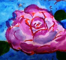 Grandmothers favorite rose, watercolor by Anna  Lewis, blind artist