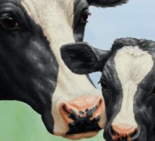 Holstein Cow and Calf Vegan Blue Heart Sticker