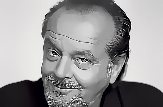 Jack Nicholson Digital Art Portrait by David Alexander Elder by David Alexander Elder
