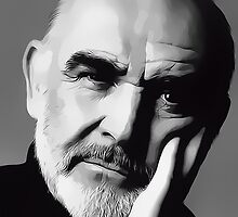 Sir Sean Connery Digital Art Portrait by David Alexander Elder by David Alexander Elder