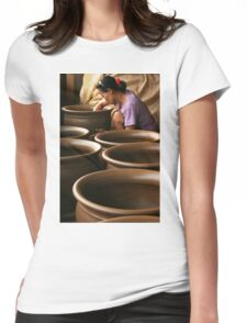 pottery craftsmen in Jogja  Womens Fitted T-Shirt