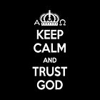 Religious Christian iPhone 4 Case Cover Keep Calm And Trust God Black by Lana Wynne