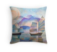 Shades of Tranquility - Cubist Junks Throw Pillow